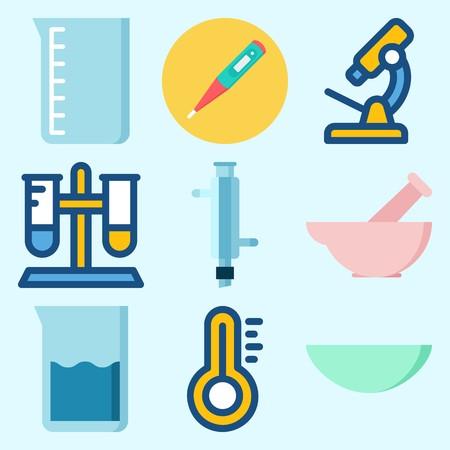 温度計、試験管、ビーカー、時計ガラス、コンデンサー、顕微鏡で実験室に設定されたアイコン  イラスト・ベクター素材