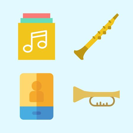 Icons set about Music with trumpet, oboe, music album and smartphone Illustration