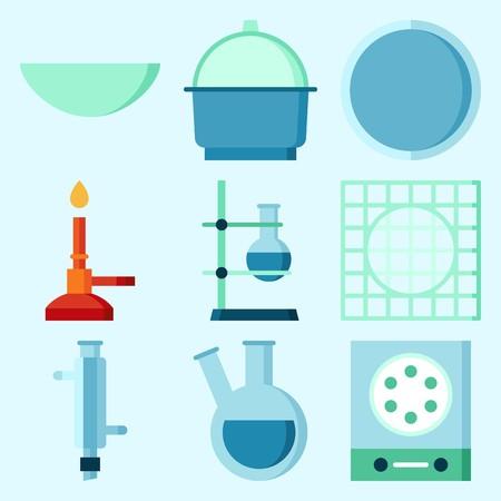 測定、実験室、時計ガラス、るつぼ、コンデンサー、フラスコを備えた実験室に関するアイコン