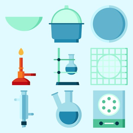 Icons set about Laboratory with measuring, lab, watch glass, crucible, condenser and flask Illusztráció