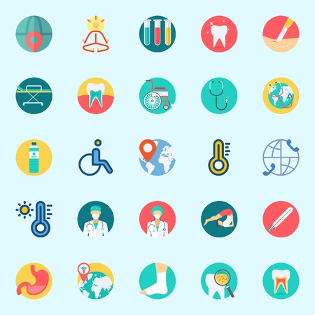 Icons set about Medical with test tubes, stomach, location, teeth, surgeon and water Illustration