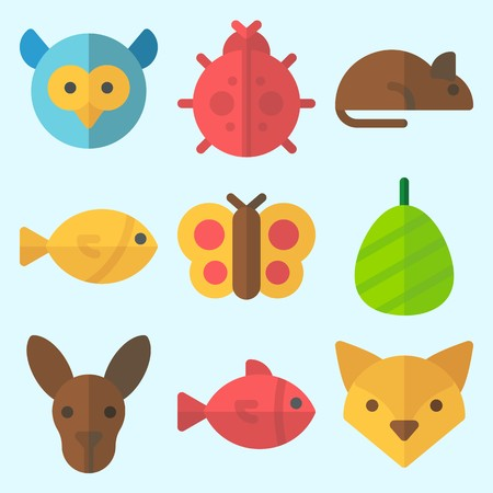 Icons set about Animals with cocoon, owl, butterfly, fish, rat and kangaroo
