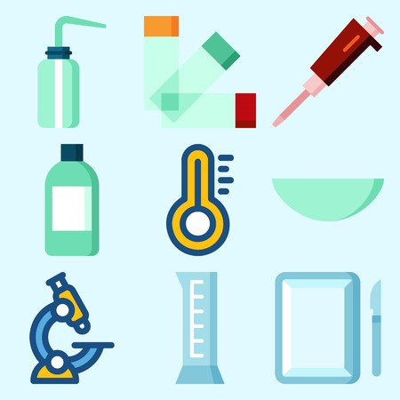 Icons set about Laboratory with surgery, jar, thermometer, condenser, watch glass and lab