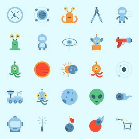 Icons set about Universe with alien, orbit, blaster, eclipse, moon and constellation Illustration