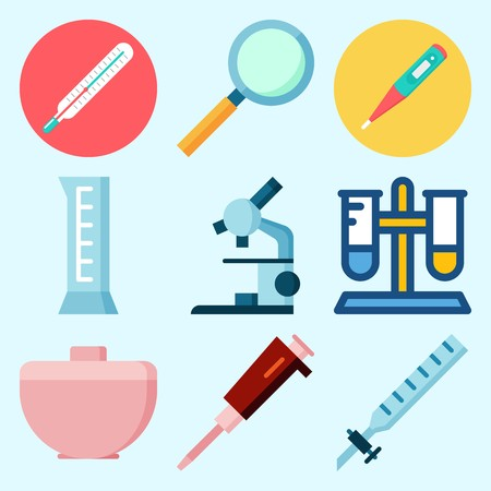 Icons set about Laboratory with microscope, trough, cylinder, condenser, thermometer and loupe