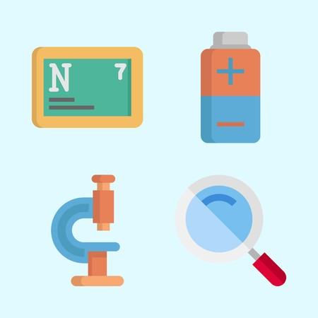 Icons about Science with microscope, nitrogen, loupe and battery