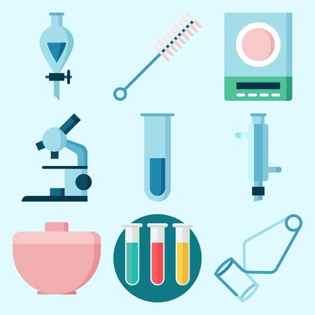 Icons set about Laboratory with separator funnel, lab, test tubes, test tube, funnel and condenser