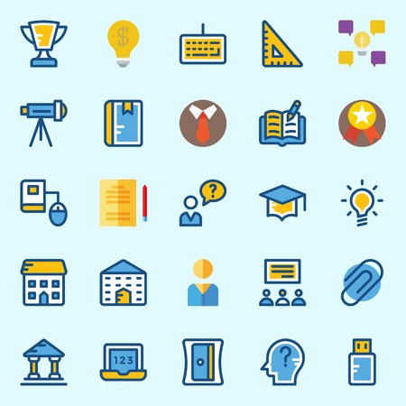 Icons set about School And Education with studying, mortarboard, telescope, think, pendrive and sharpener Illustration