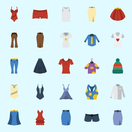 Icons set about Women Clothes with swimsuit, winter hat, shirt, pants, shorts and sleeveless Illustration