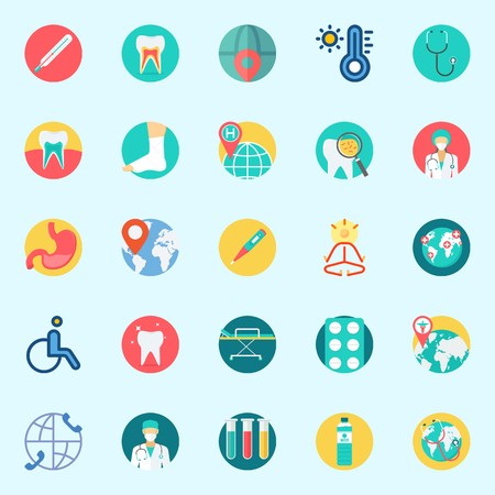 Icons set about Medical with test tubes, teeth, surgeon, worldwide, thermometer and tooth Illustration