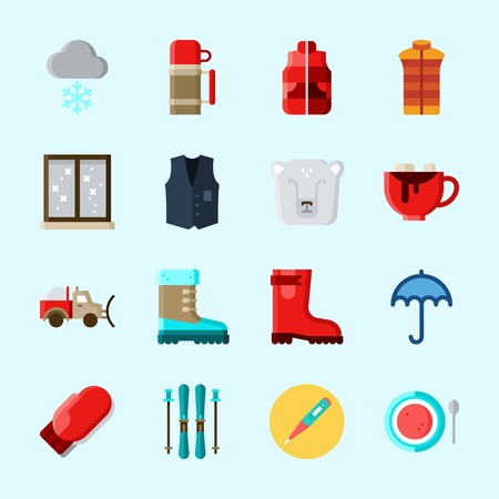 Icons about Winter with snowing, vest, boot, window, ski and umbrella