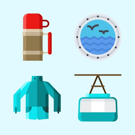 Icons set about Winter with window, cable car cabin, jacket and thermo