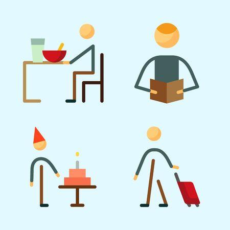 리더, 여행자, 생일 소년, eather 및 남성과 인간에 대 한 아이콘을 설정