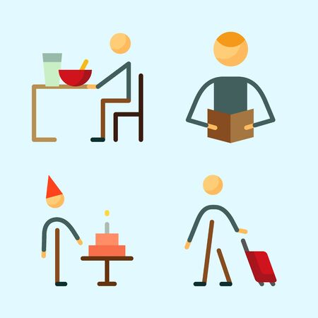 Icons set about Human with reader, traveller, birthday boy, eather and male Illustration
