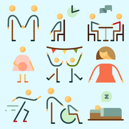 Icons set about Human with sportsman, disable, female, friend, pregnant and femenine Illustration