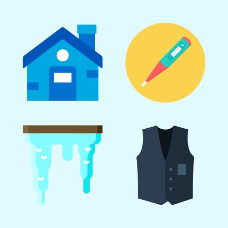 Icons set about Winter with house, vest, icicle and thermometer Ilustrace