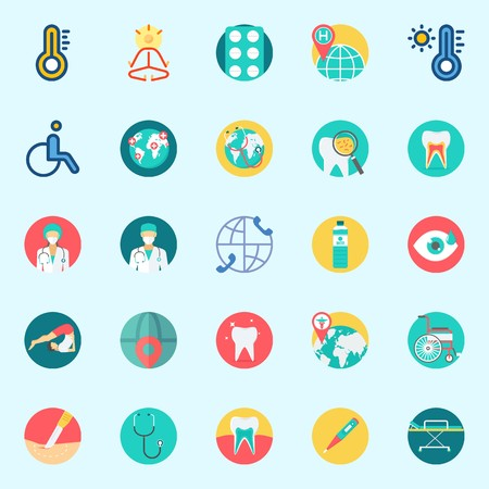 Icons set about Medical with teeth, surgery, mystical, stethoscope, worldwide and visibility