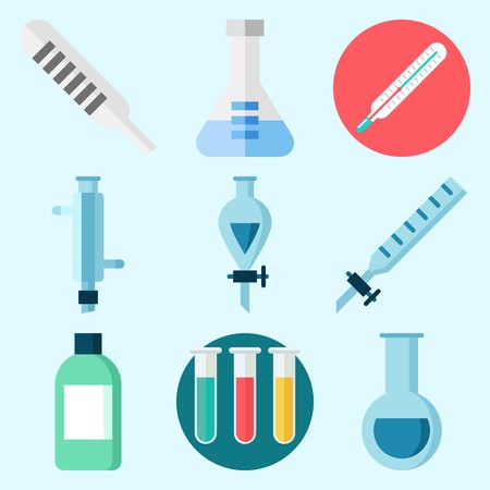 瓶、試験管、キップの装置、漏斗、温度計および凝縮器が付いている実験室について設定されるアイコン