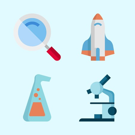 Icons about Science with microscope, loupe, rocket ship and flask 向量圖像