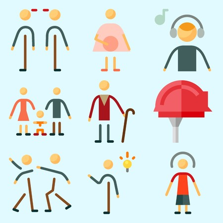 Icons set about Human with child, invention, worker, relations, aggressive and female