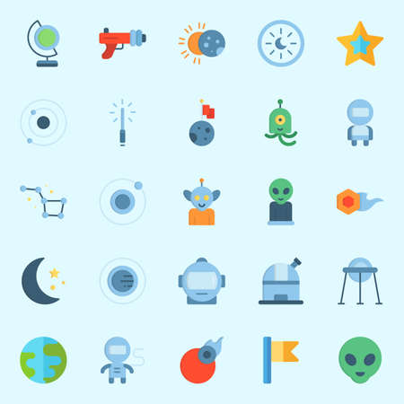 Icons set about Universe with orbit, astrology, planet, flag, earth and lightsaber