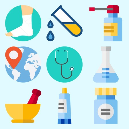 Icons set about Medical with sprain, worldwide, flask, mortar, stethoscope and medicine