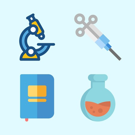 Icons about Science with notebook, syringe, flask and microscope