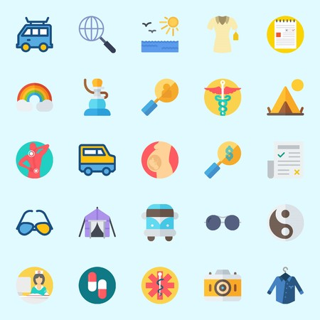 Icons set about Hippies with pharmacy, tent, sunglasses, pills, note and yin-yang