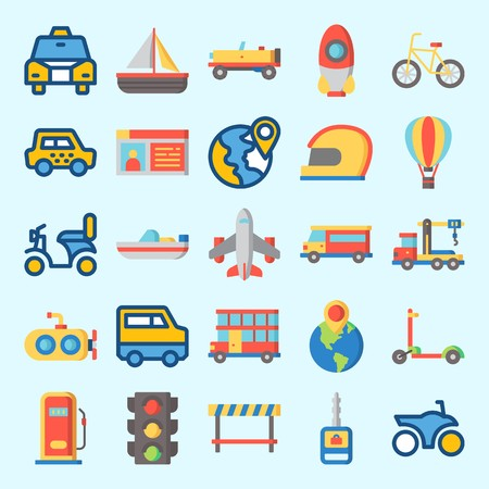 Icons set about Transportation with truck, road block, sail boat, gas station, airplane and destination