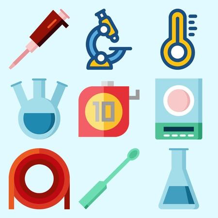 試験管、実験室、温度計、管、測定および顕微鏡が付いている実験室について設定されるアイコン