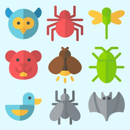 Icons set about Animals with duck, hamster, owl, dragonfly, spider and bat