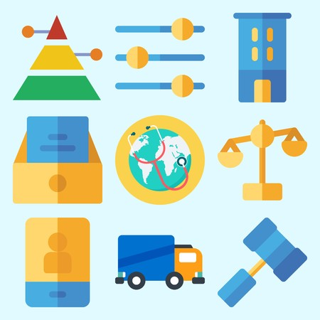 Icons set about Business with smartphone, pyramid, building, balance, levels and inbox Illustration