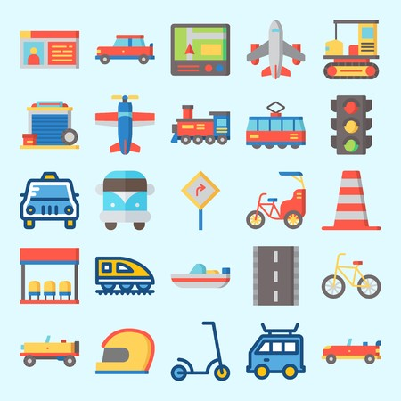 Icons set about Transportation with locomotive, road sing, road, boat, car and taxi