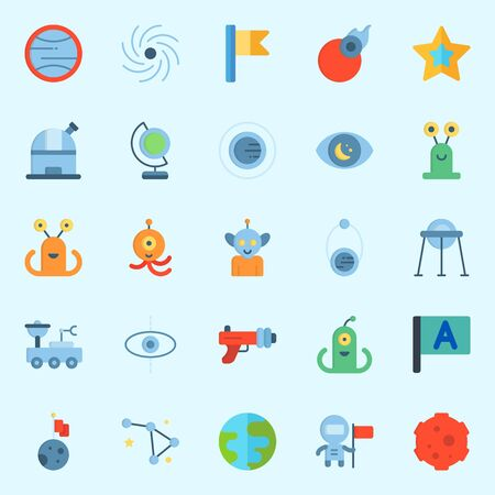 Icons set about Universe with star, observatory, flag, astronaut, moon and meteorite Vettoriali