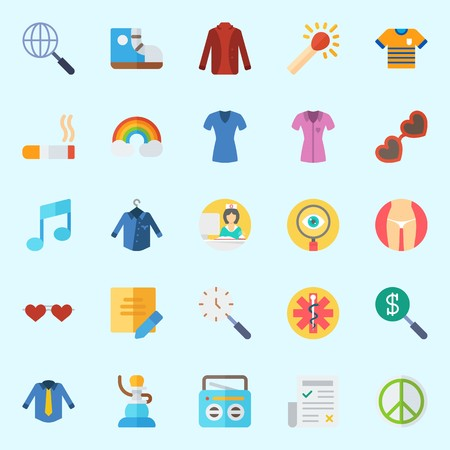 Icons set about Hippies with rainbow, match, pharmacy, search, shirt and nurse