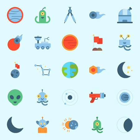 Icons set about Universe with observatory, alien, moon, orbit, eclipse and constellation Illustration