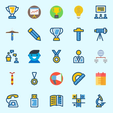 Icons set about School And Education with notebook, trophy, user, networking, protractor and medal