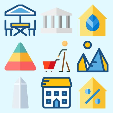 Icons set about Construction with terrace, washington monument, pyramids, real estate, monumental and pyramid Иллюстрация