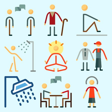 Icons set about Human with dialogue, man, yoga, female, mystical and chating Illustration