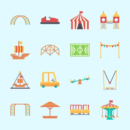 Icons about Amusement Park with playground, sunshade, toy car, pirate ship ride , carousel and climbing Illustration