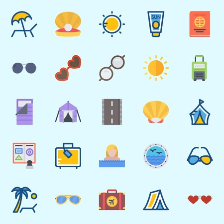 Icons set about Beach And Camping with tent, shell, suitcase, sunglasses, sunbed and sleeping bag