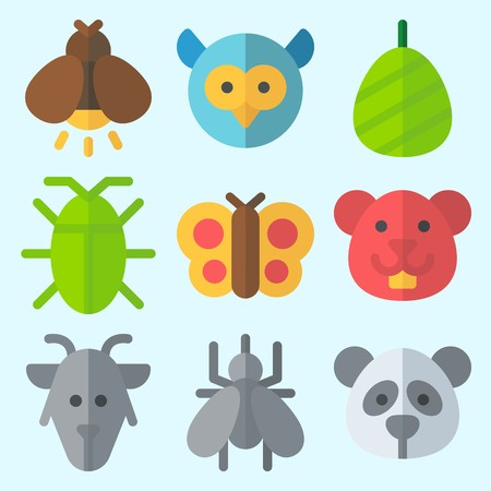 Icons set about Animals with firefly, owl, butterfly, goat, hamster and cockroach Çizim
