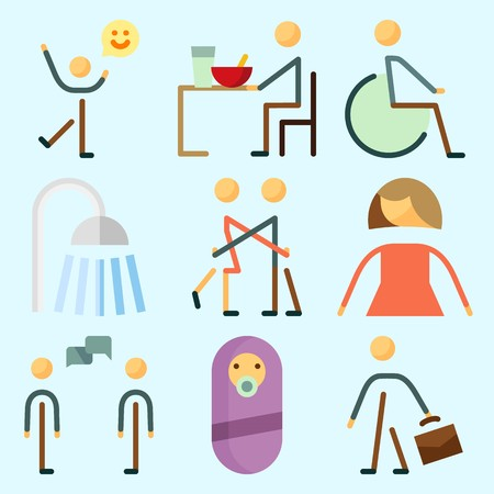Icons set about Human with female, eather, shower, happiness, femenine and male