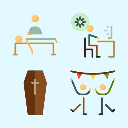 Icons set about Human with coffin, programmer, dancing, dancer, relaxing and massage Ilustracja