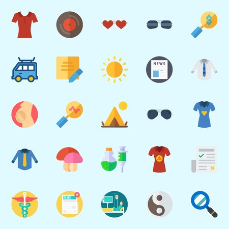 Icons set about Hippies with shirt, pharmacy, sun, newspaper, mushroom and poison Illustration