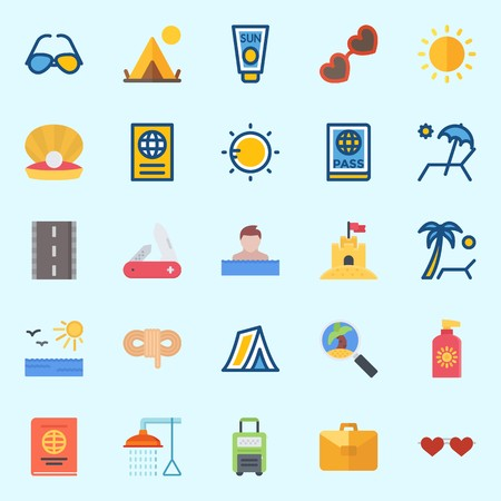 Icons set about Beach And Camping with bathing, rope, sun protection, road, sun and sunbed Illustration