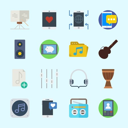 Icons about Music with headphones, sheet music, smartphone, drum, levels and guitar protector Çizim