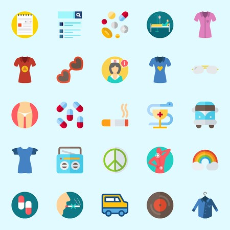 Icons set about Hippies with radio, rainbow, slim, no smoking, search and pacifism