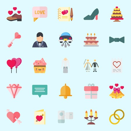 Icons set about Wedding with bow, wedding cake, shoe, love letter, couple and wedding bells