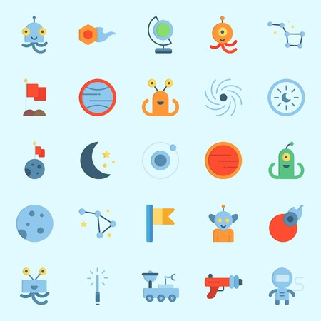 Icons set about Universe with lightsaber, moon, astrology, black hole, flag and constellation